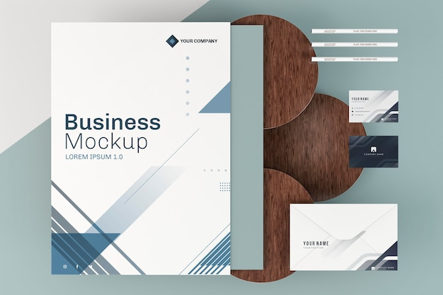 Stationery business poster mock-up and wooden boards