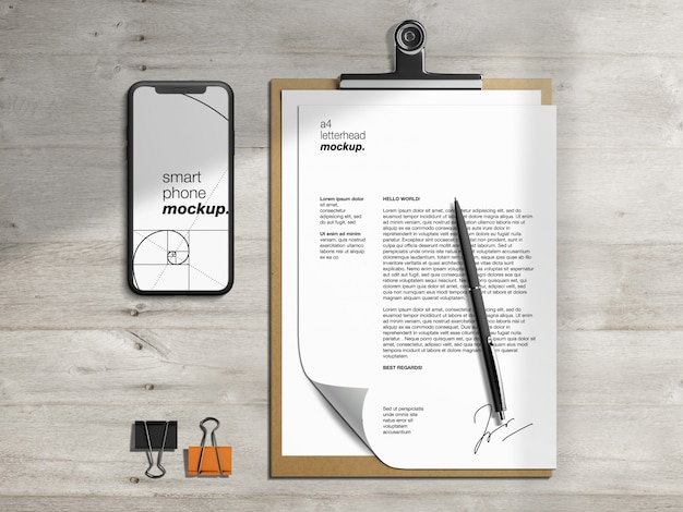 Stationery  clipboard letterhead and smartphone mockup template with pen and paper blinders