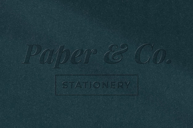 Stationery company logo template psd in embossed paper style