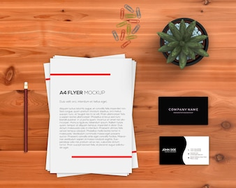 Stationery concept with a4 flyer mockup