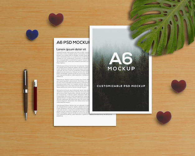 Stationery concept with a6 brochure mockup