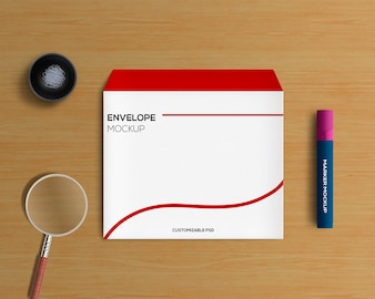 Stationery concept with envelope mockup