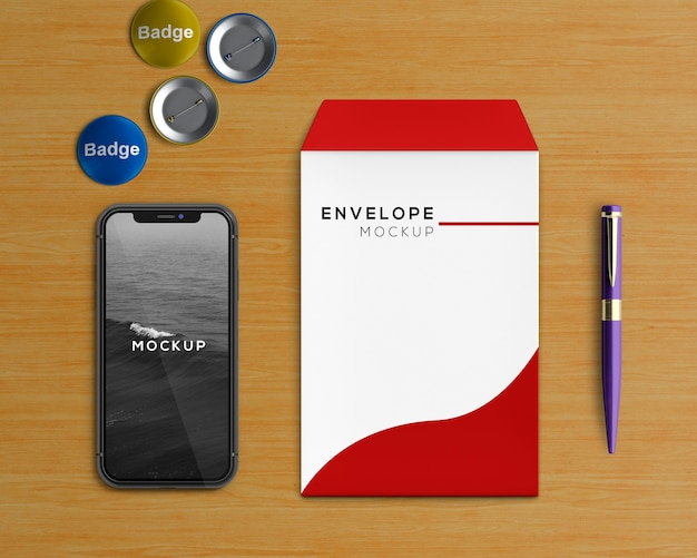 Stationery concept with envelope and smartphone mockup