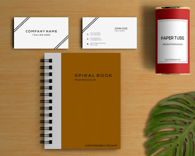 Stationery concept with spiral book mockup