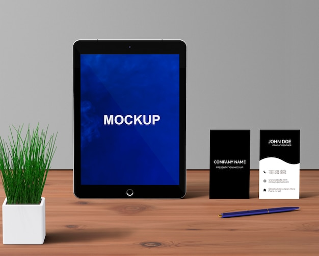 Stationery concept with tablet mockup