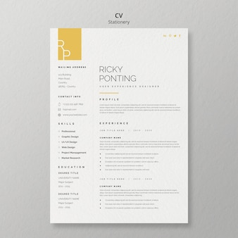 Stationery cv template