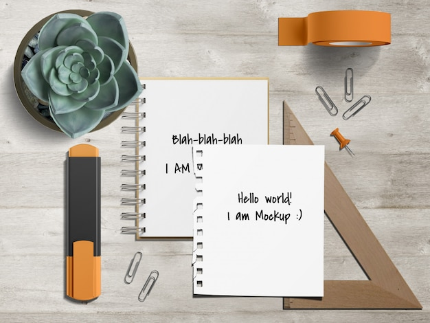 Stationery desk set with notebook mockup template