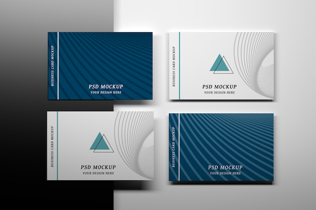 Stationery editable psd mockup with four business cards