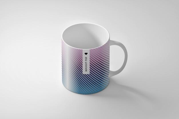 1つのコーヒーティーカップマグカップ付き文房具編集可能なpsdモックアップ