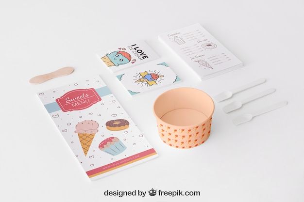 Stationery ice cream concept with menu