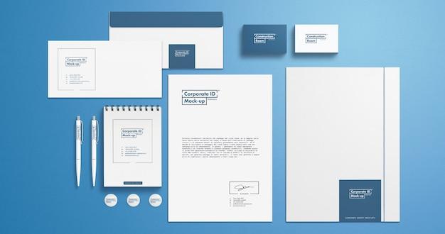 Stationery identity mock-up set with 4k resolution