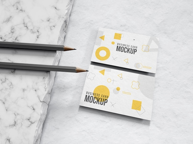 Stationery mock-up on business card with pencil