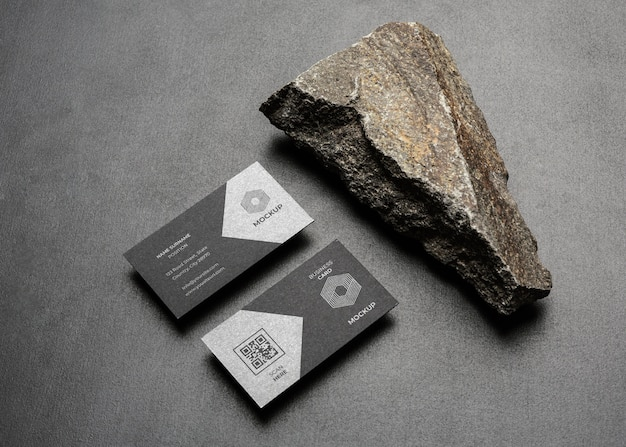 Stationery mock-up with dark rugged rock