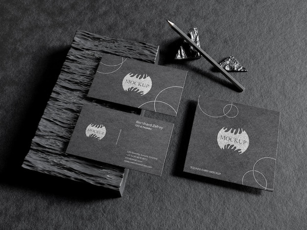 Stationery mockup on black business card with pencil