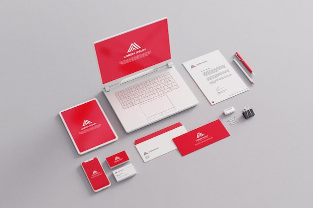 Stationery mockup company business red