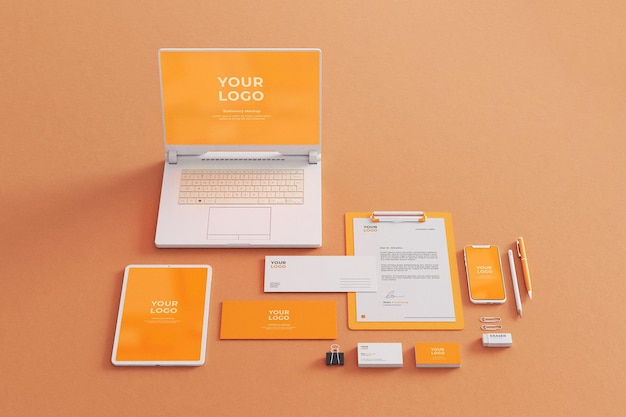 Stationery mockup company business with laptop tablet phone