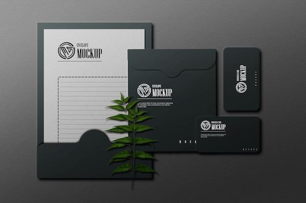Дизайн макета канцелярских товаров с элегантной тенью