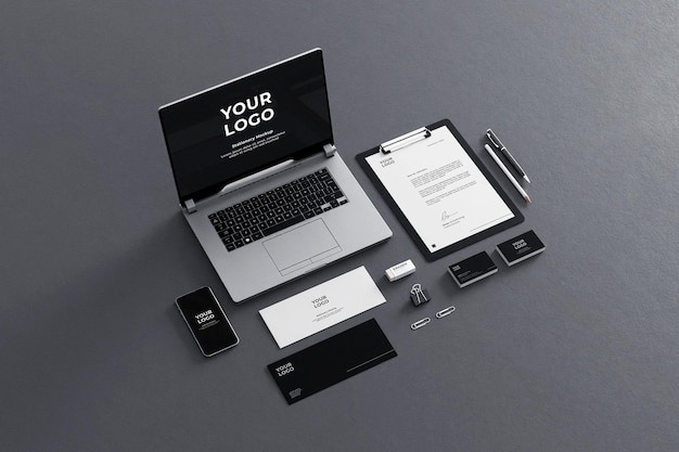 Канцелярские товары mockup for business company black grey
