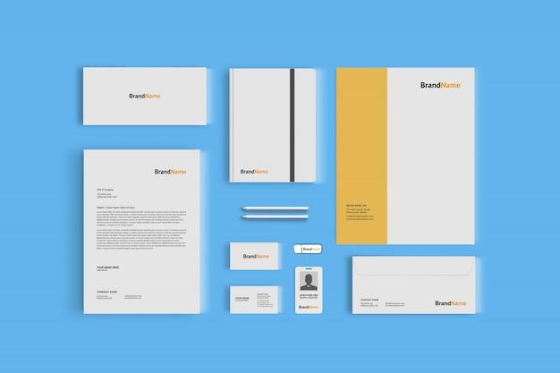 企業ブランディングのための文房具モックアップ、トップビュー
