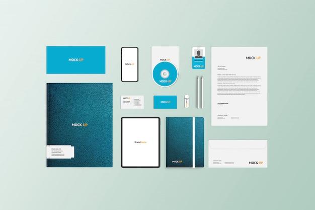 Макет канцелярских товаров для корпоративного брендинга, вид сверху
