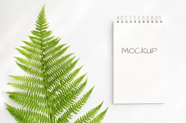 Stationery mockup notepad with green ferns on white