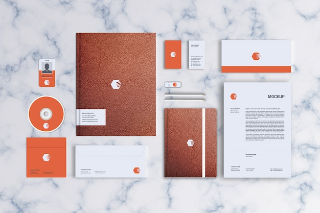 Stationery mockup, top view