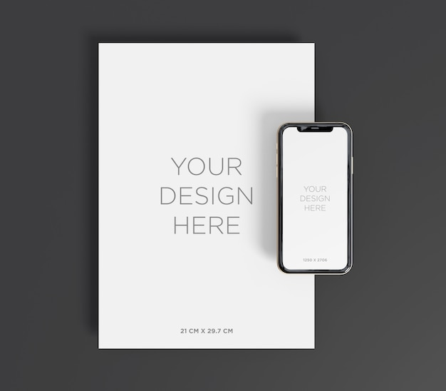Stationery mockup with a4 paper and smartphone top view