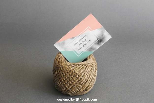 Stationery mockup with business card and cord