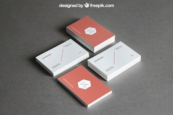 Stationery mockup with four stacks of business cards