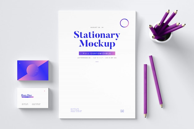 Stationery mockup with pencils