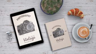 Stationery mockup with photography concept and coffee