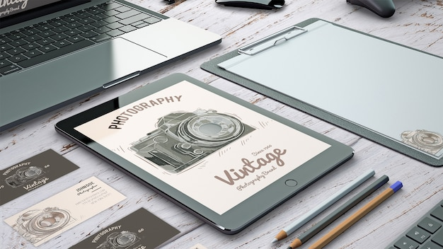 Stationery mockup with photography concept