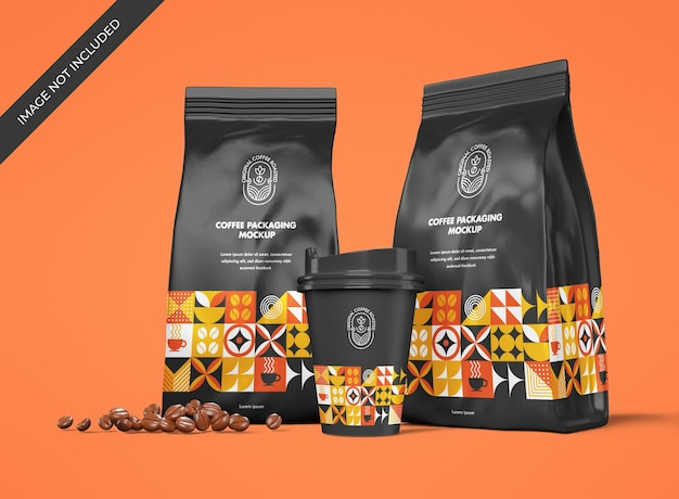 Stationery mockup with pouch and cup for a coffee shop brand
