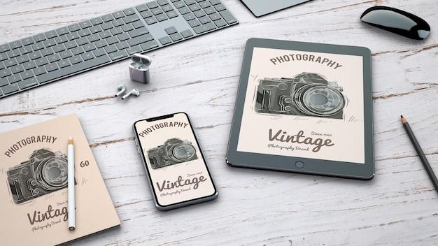 レトロ写真コンセプトの文房具モックアップ