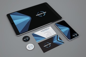 Stationery mockup with tablet and smartphone