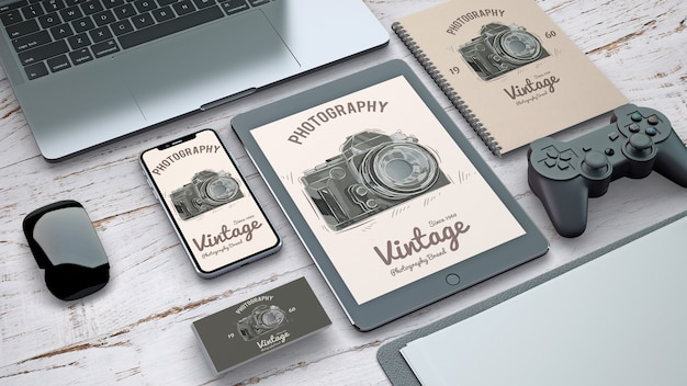 Stationery mockup with vintage photography concept