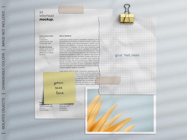 편지지 무드 보드 모형 장면 제작자 콜라주 세트