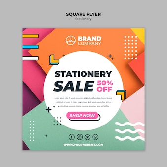 Stationery office concept square flyer