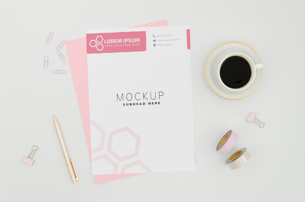 Stationery paper mock-up on white background