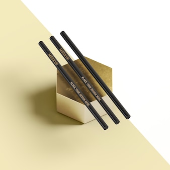 Stationery pencils on abstract honeycomb shape