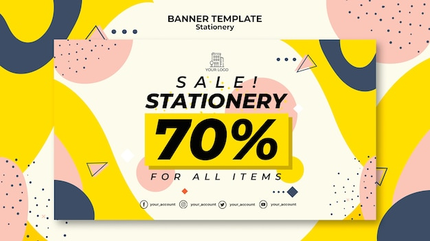 Stationery sales banner web template