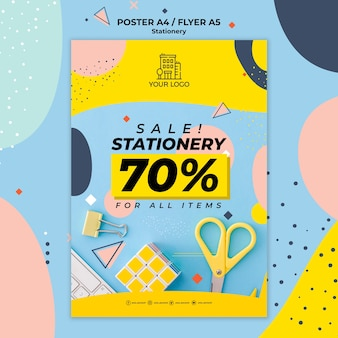 Stationery sales poster print template