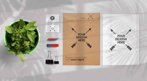 Stationery and school supplies mockup isolated on lightgray