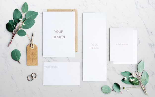 Stationery wedding concept with leaves