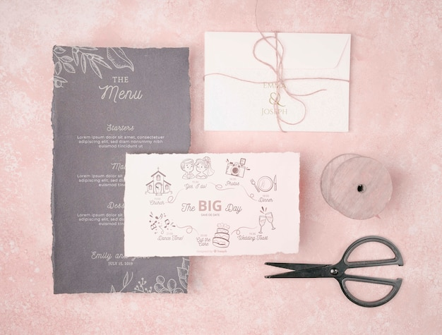 Stationery wedding invitation concept