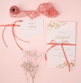 Stationery wedding invitation and ribbon