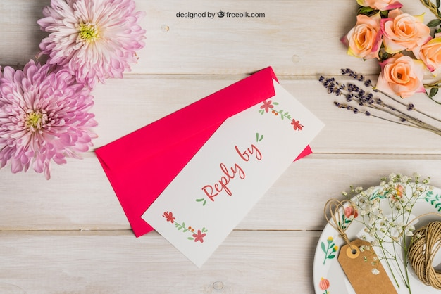 Stationery wedding mockup with red envelope