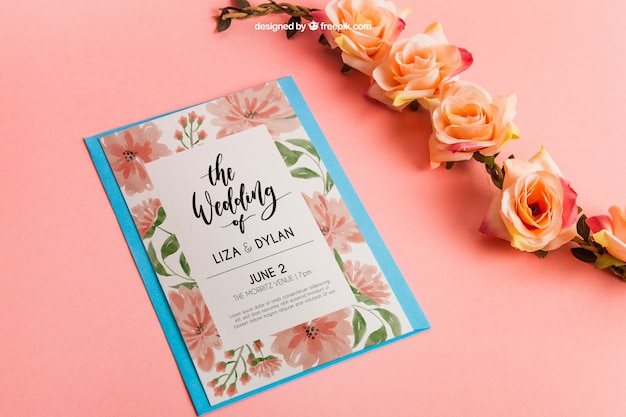 Stationery wedding mockup with roses