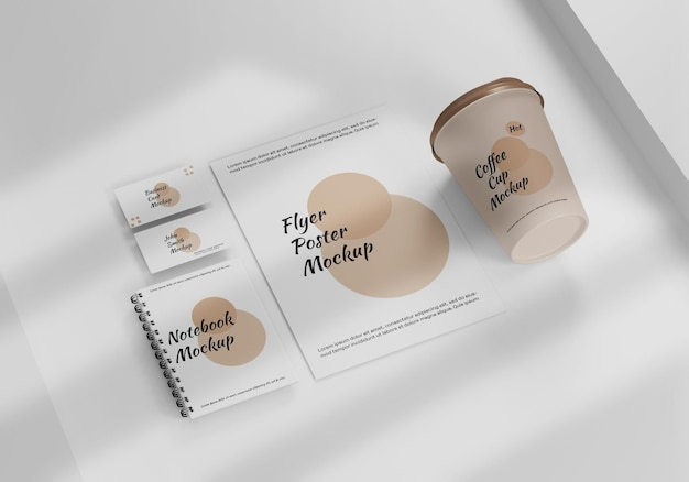Stationery white and brown mockup