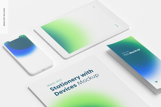 Stationery with devices mockup, close up